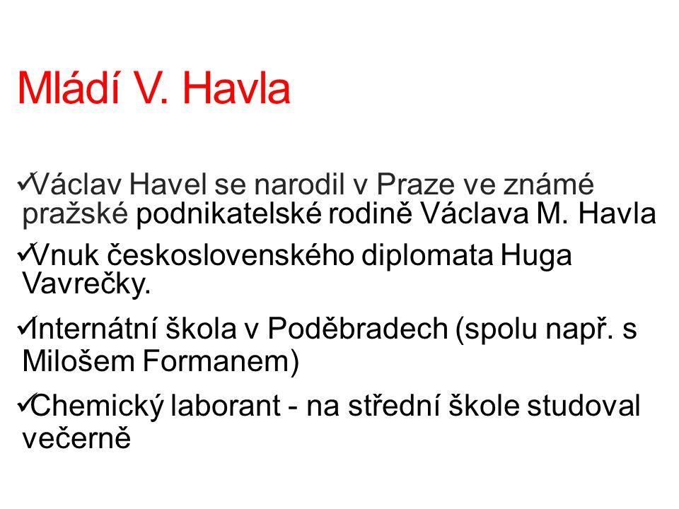 Mládí V. Havla Václav Havel se narodil v Praze ve známé pražské podnikatelské rodině Václava M. Havla.