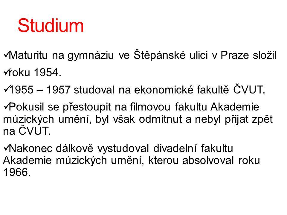 Studium Maturitu na gymnáziu ve Štěpánské ulici v Praze složil