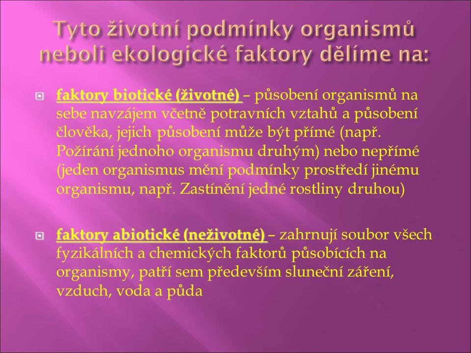 faktory biotické (životné) – působení organismů na sebe navzájem včetně potravních vztahů a působení člověka, jejich působení může být přímé (např. Požírání jednoho organismu druhým) nebo nepřímé (jeden organismus mění podmínky prostředí jinému organismu, např. Zastínění jedné rostliny druhou)
