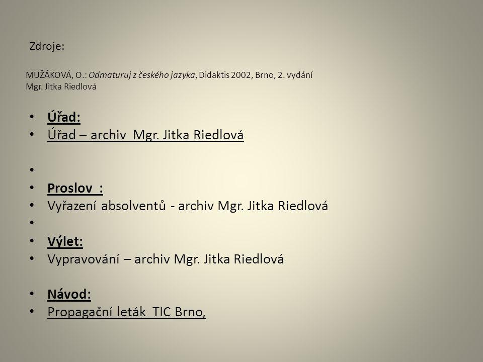 Úřad – archiv Mgr. Jitka Riedlová Proslov :