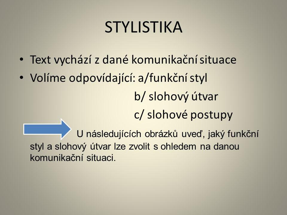 STYLISTIKA Text vychází z dané komunikační situace