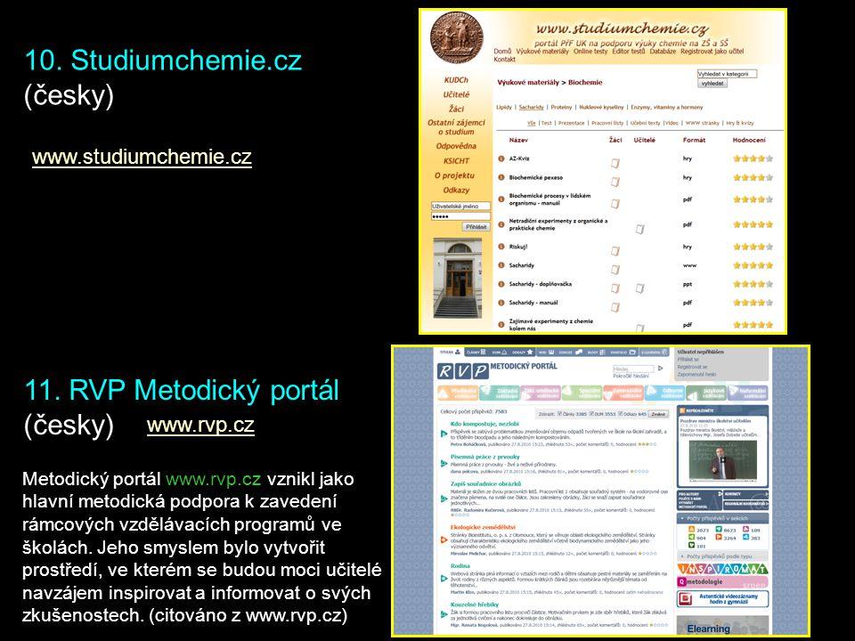 10. Studiumchemie.cz (česky) 11. RVP Metodický portál (česky)