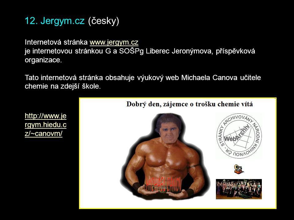12. Jergym.cz (česky) Internetová stránka www.jergym.cz