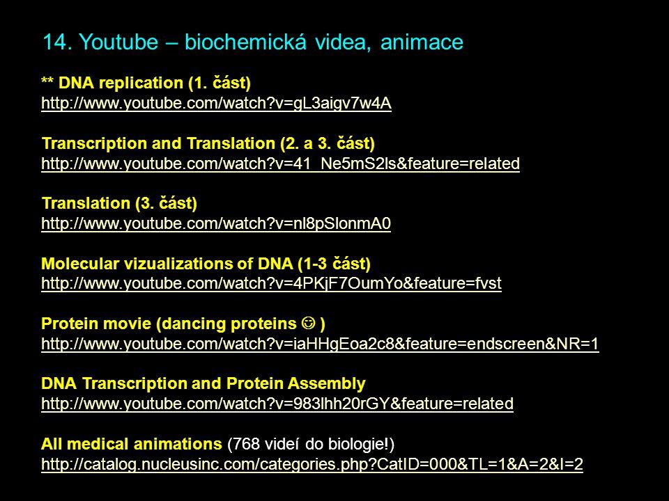 14. Youtube – biochemická videa, animace