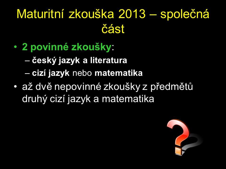 Maturitní zkouška 2013 – společná část