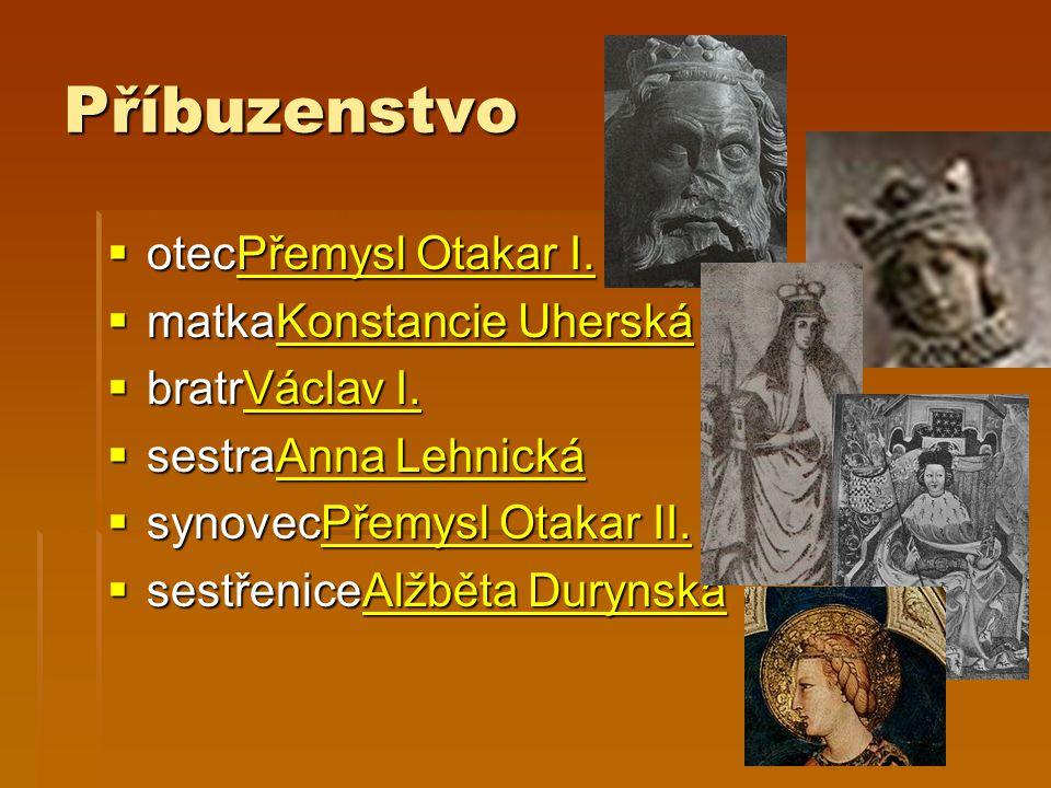 Příbuzenstvo otecPřemysl Otakar I. matkaKonstancie Uherská