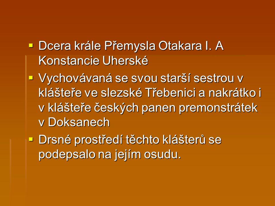 Dcera krále Přemysla Otakara I. A Konstancie Uherské