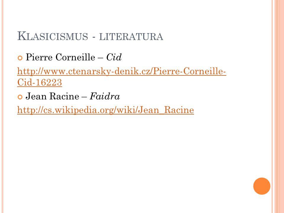 Klasicismus - literatura