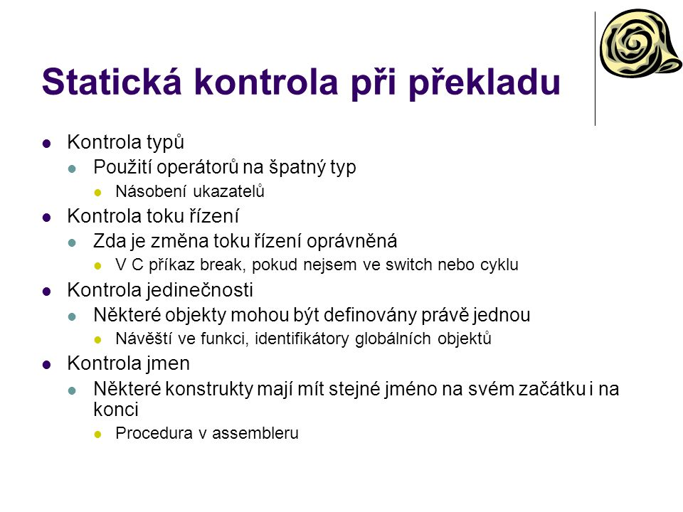 Statická kontrola při překladu