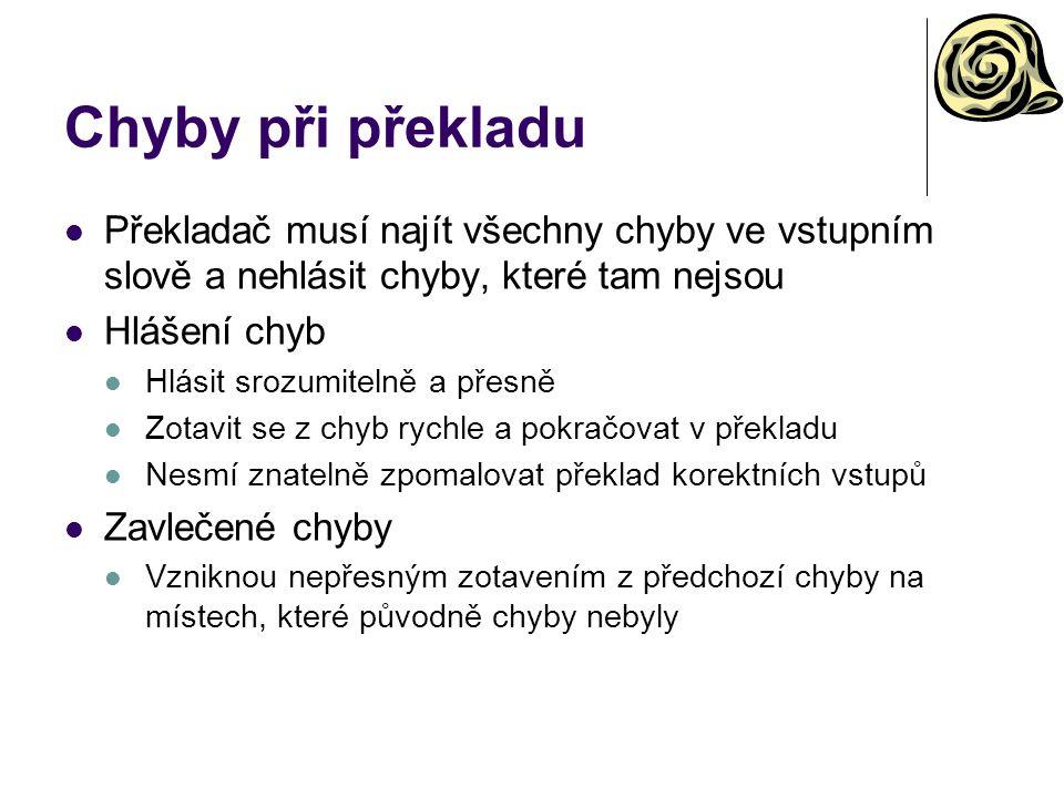 Chyby při překladu Překladač musí najít všechny chyby ve vstupním slově a nehlásit chyby, které tam nejsou.