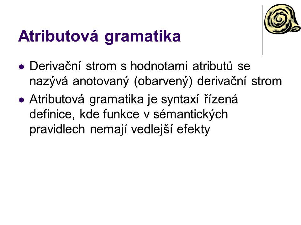 Atributová gramatika Derivační strom s hodnotami atributů se nazývá anotovaný (obarvený) derivační strom.