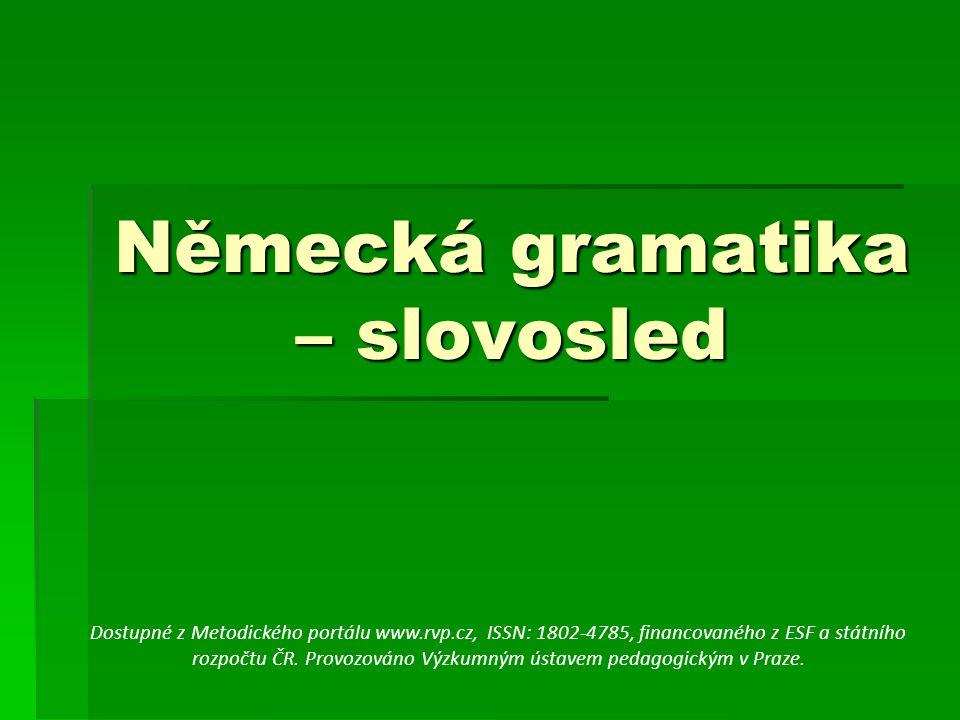 Německá gramatika – slovosled