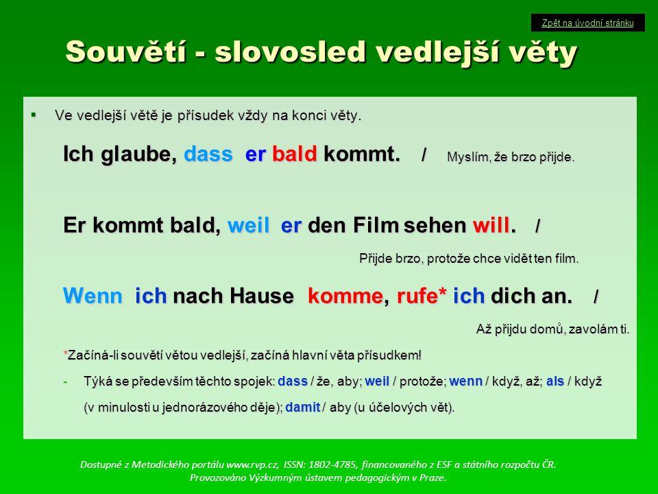 Souvětí - slovosled vedlejší věty