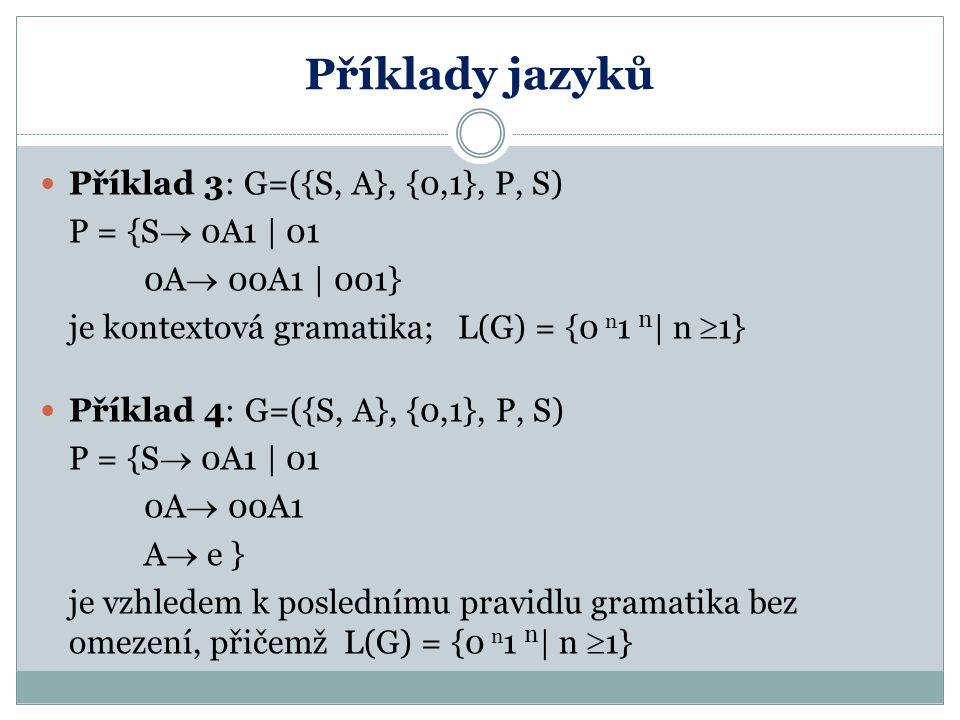 Příklady jazyků Příklad 3: G=({S, A}, {0,1}, P, S) P = {S 0A1 | 01