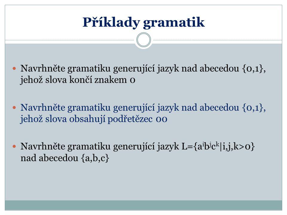 Příklady gramatik Navrhněte gramatiku generující jazyk nad abecedou {0,1}, jehož slova končí znakem 0.