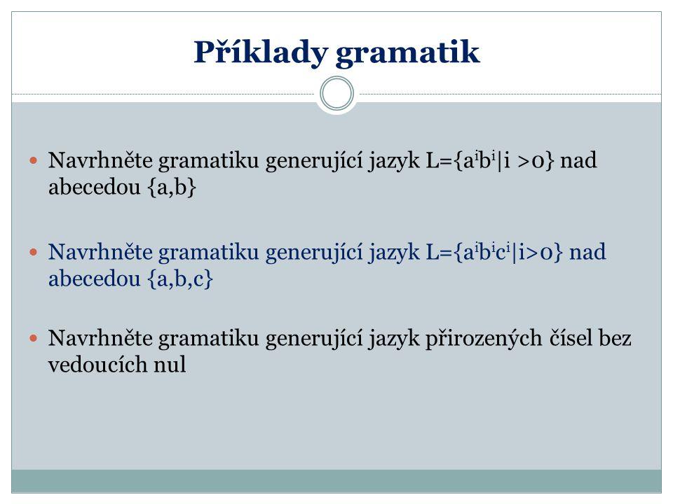 Příklady gramatik Navrhněte gramatiku generující jazyk L={aibi|i >0} nad abecedou {a,b}