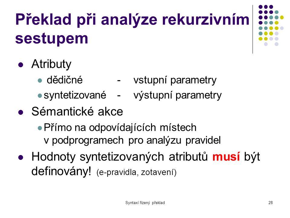 Překlad při analýze rekurzivním sestupem