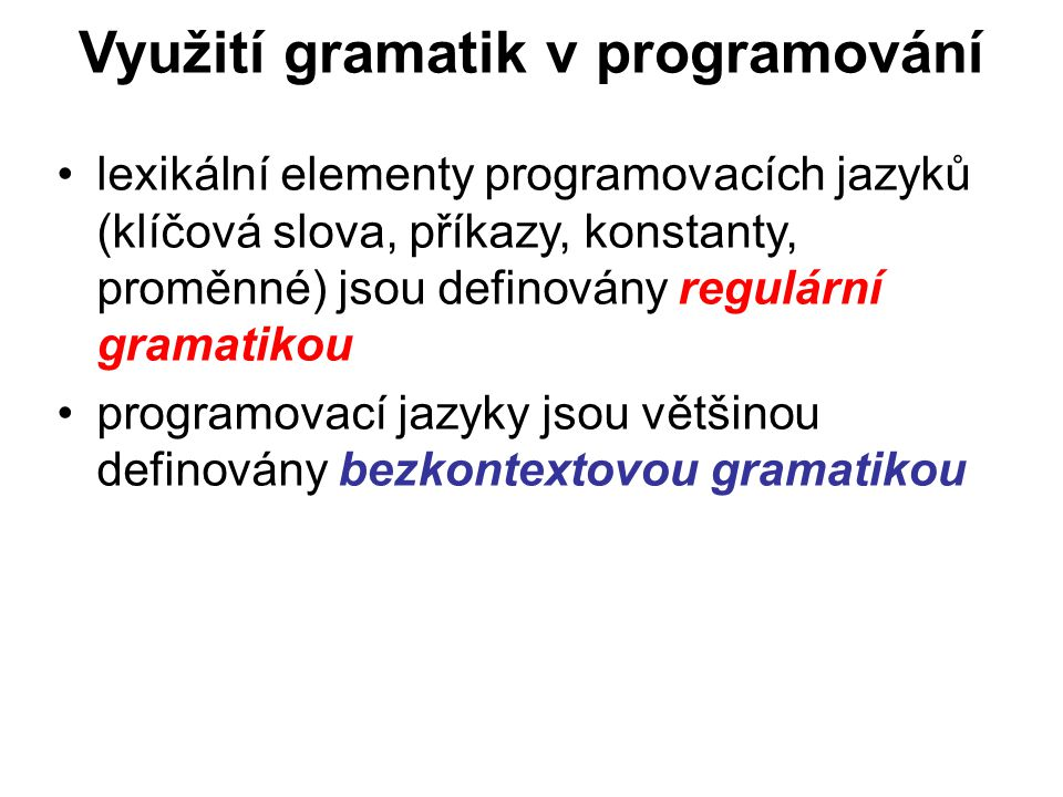 Využití gramatik v programování