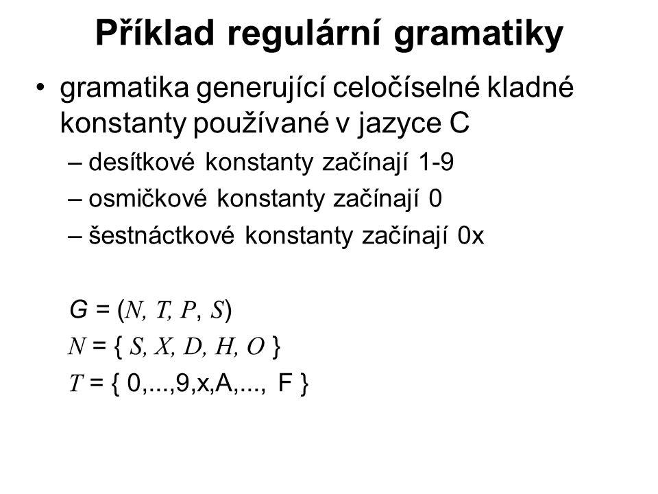 Příklad regulární gramatiky