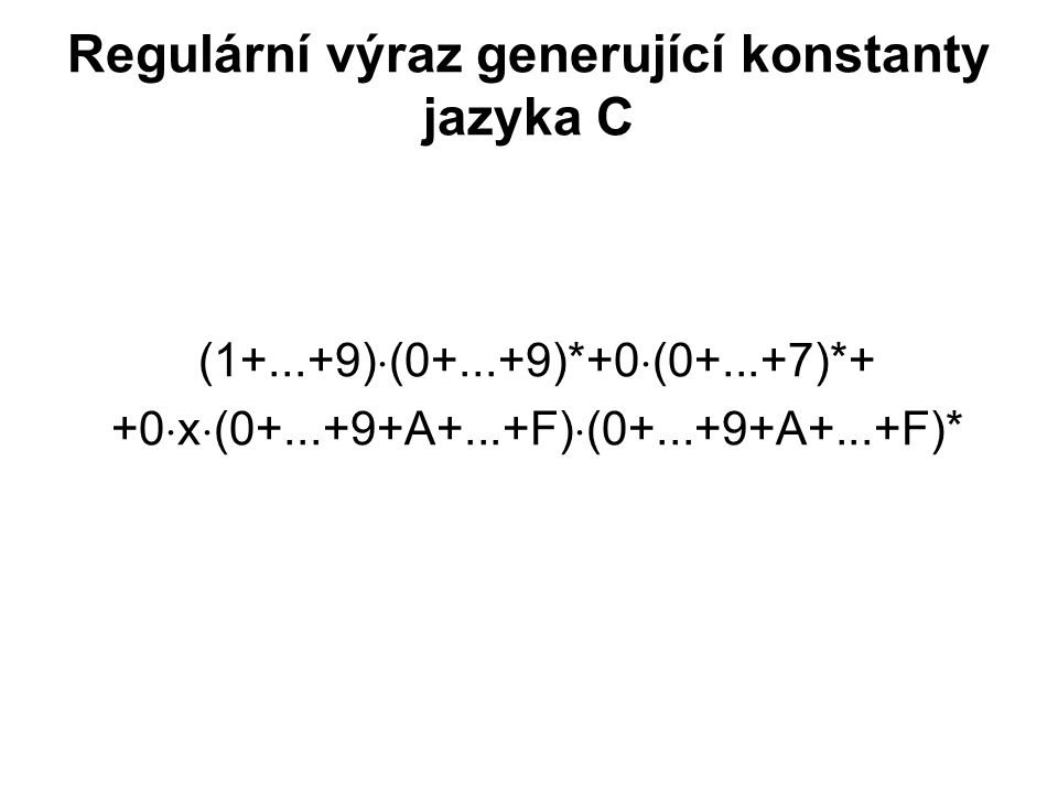 Regulární výraz generující konstanty jazyka C