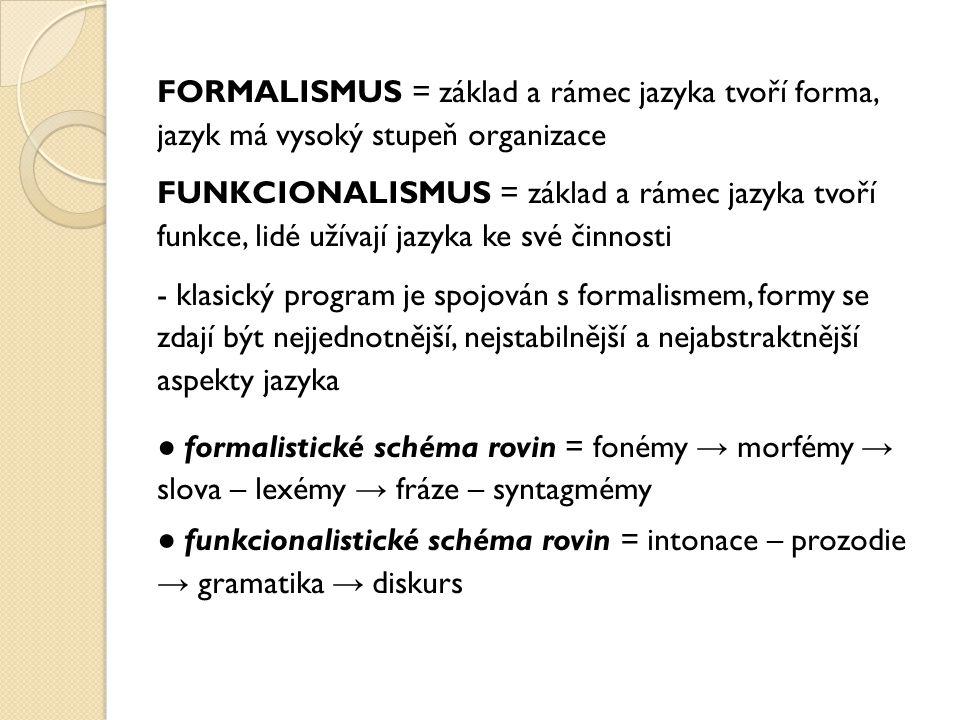 FORMALISMUS = základ a rámec jazyka tvoří forma, jazyk má vysoký stupeň organizace FUNKCIONALISMUS = základ a rámec jazyka tvoří funkce, lidé užívají jazyka ke své činnosti - klasický program je spojován s formalismem, formy se zdají být nejjednotnější, nejstabilnější a nejabstraktnější aspekty jazyka ● formalistické schéma rovin = fonémy → morfémy → slova – lexémy → fráze – syntagmémy ● funkcionalistické schéma rovin = intonace – prozodie → gramatika → diskurs