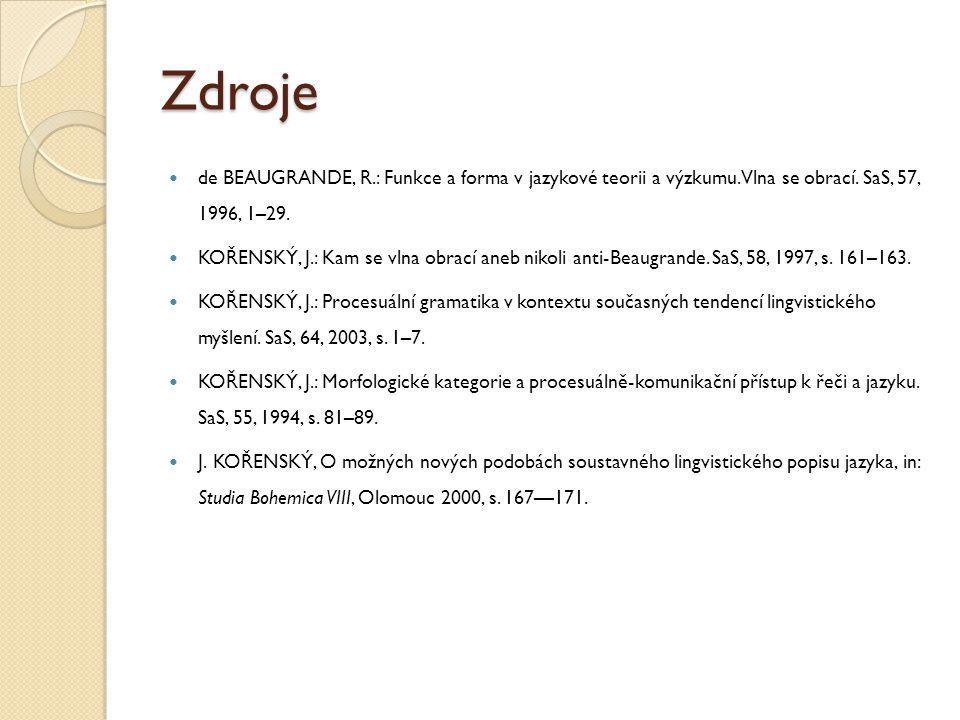 Zdroje de BEAUGRANDE, R.: Funkce a forma v jazykové teorii a výzkumu. Vlna se obrací. SaS, 57, 1996, 1–29.