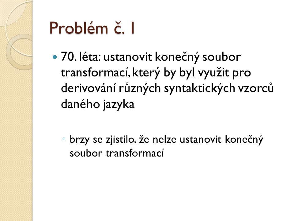 Problém č. 1 70. léta: ustanovit konečný soubor transformací, který by byl využit pro derivování různých syntaktických vzorců daného jazyka.