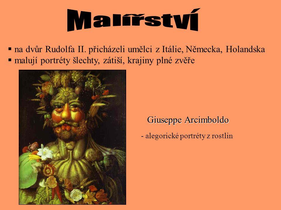 Malířství na dvůr Rudolfa II. přicházeli umělci z Itálie, Německa, Holandska. malují portréty šlechty, zátiší, krajiny plné zvěře.