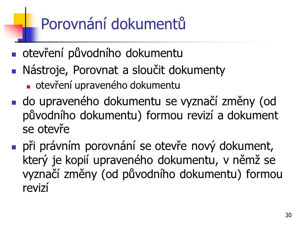 Porovnání dokumentů otevření původního dokumentu