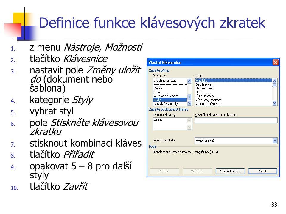 Definice funkce klávesových zkratek