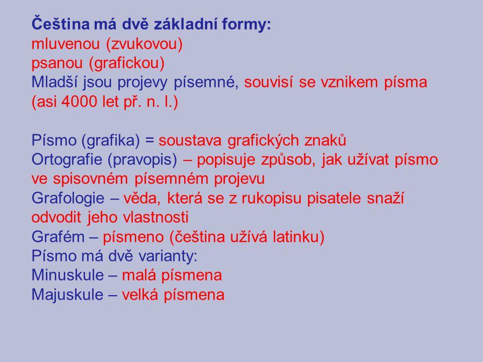 Čeština má dvě základní formy: