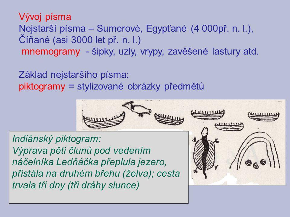 Vývoj písma Nejstarší písma – Sumerové, Egypťané (4 000př. n. l.), Číňané (asi 3000 let př. n. l.)