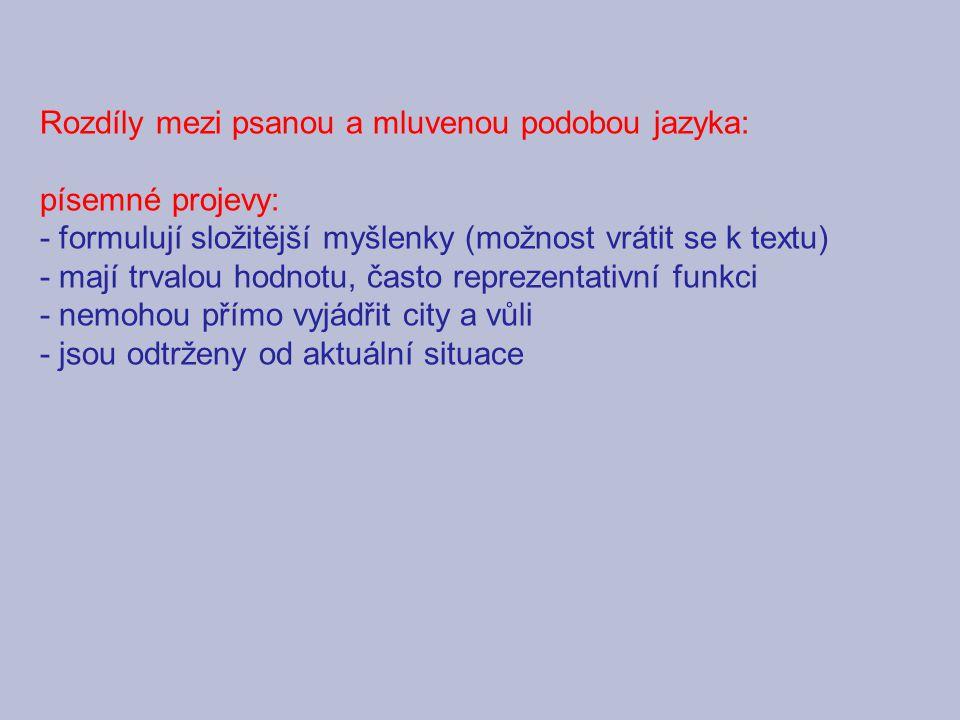 Rozdíly mezi psanou a mluvenou podobou jazyka: