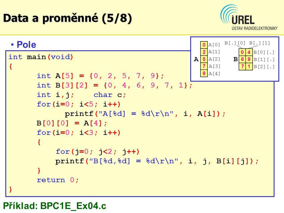 Data a proměnné (5/8) Pole Příklad: BPC1E_Ex04.c int main(void) {
