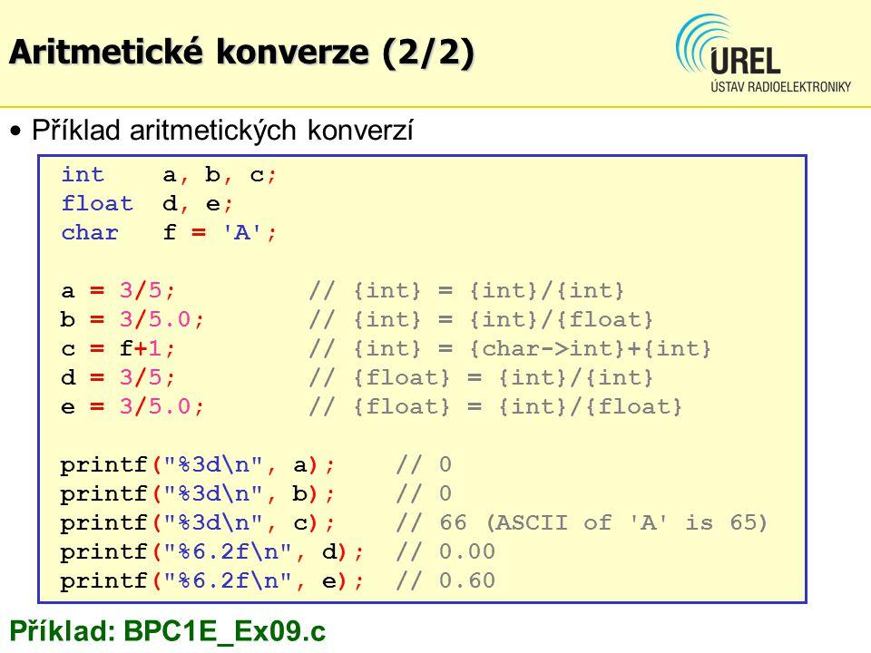 Aritmetické konverze (2/2)