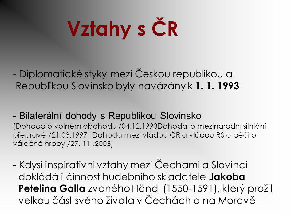 Vztahy s ČR Diplomatické styky mezi Českou republikou a