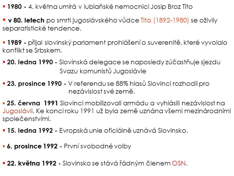 1980 - 4. května umírá v lublaňské nemocnici Josip Broz Tito