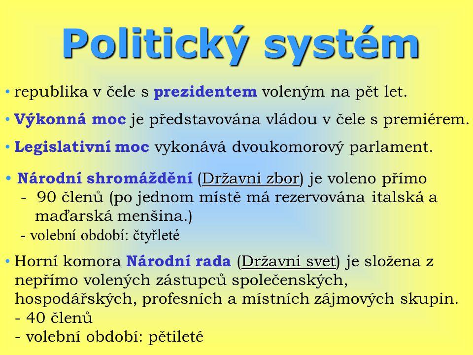 Politický systém republika v čele s prezidentem voleným na pět let.