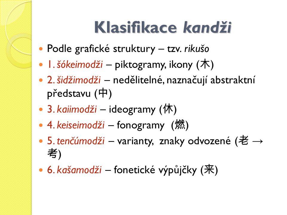 Klasifikace kandži Podle grafické struktury – tzv. rikušo