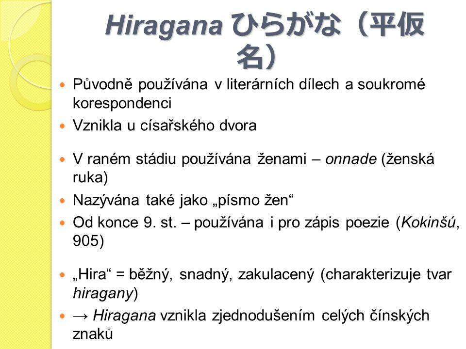 Hiragana ひらがな(平仮名) Původně používána v literárních dílech a soukromé korespondenci. Vznikla u císařského dvora.