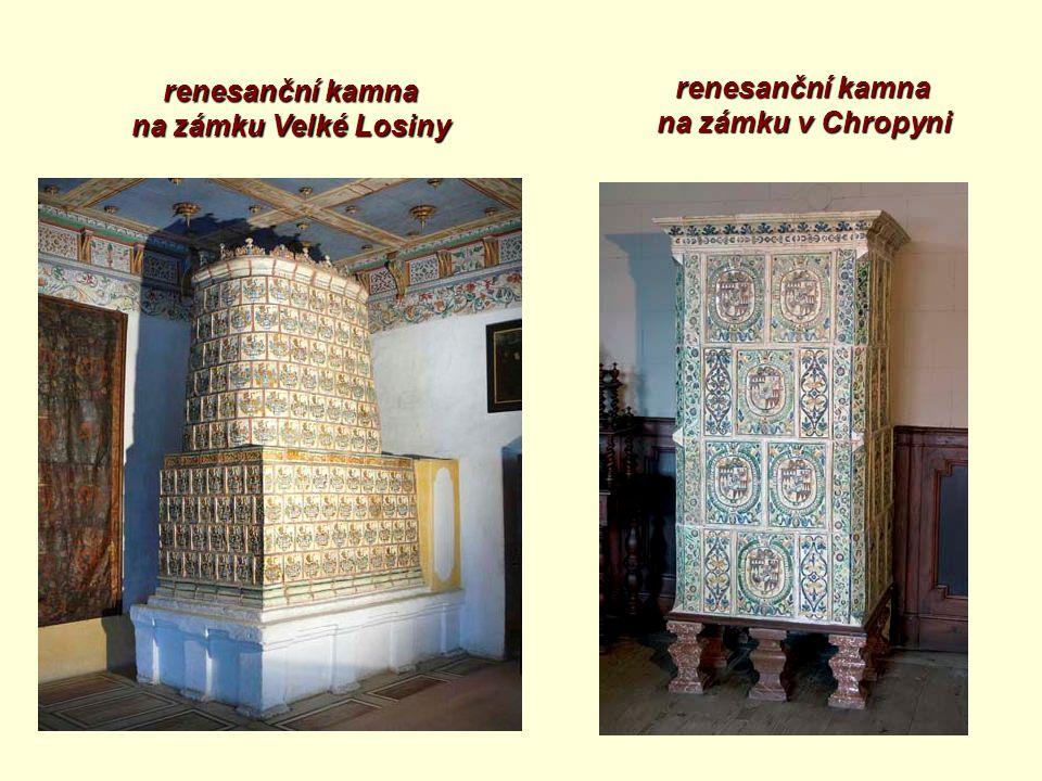 renesanční kamna na zámku Velké Losiny