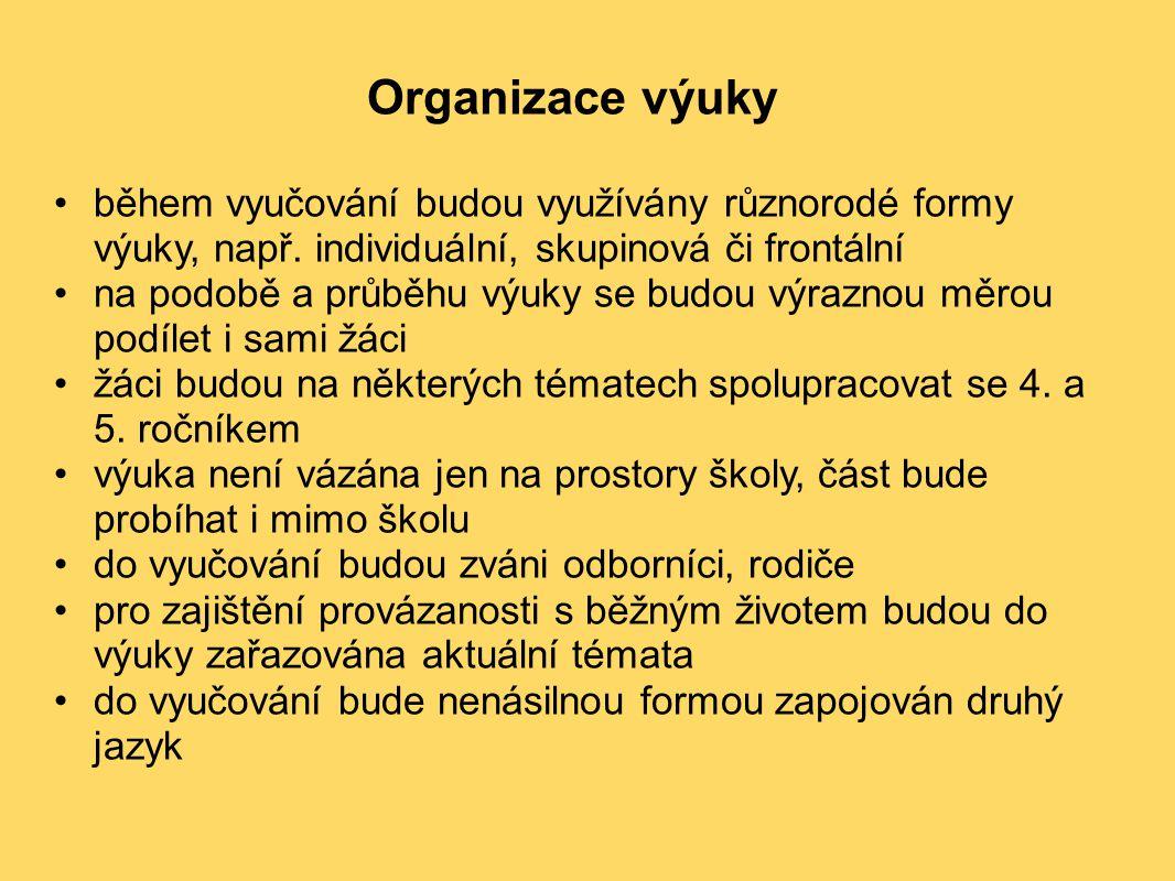 Organizace výuky. během vyučování budou využívány různorodé formy výuky, např. individuální, skupinová či frontální.