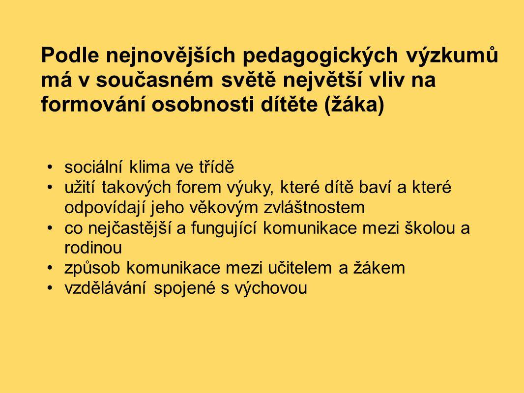 Podle nejnovějších pedagogických výzkumů má v současném světě největší vliv na formování osobnosti dítěte (žáka)