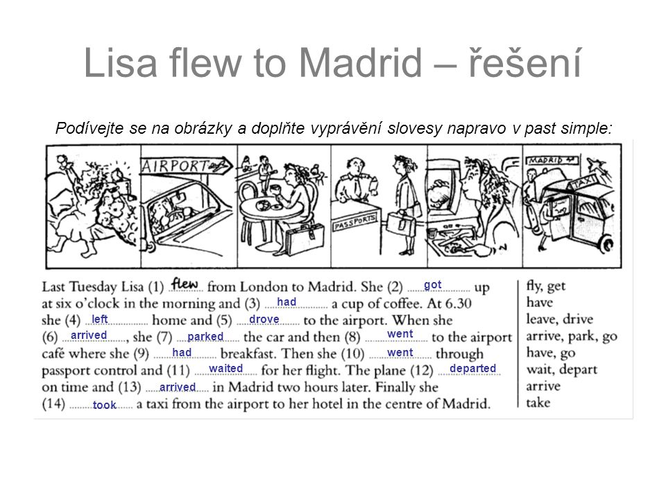 Lisa flew to Madrid – řešení