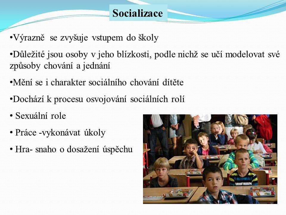 Socializace Výrazně se zvyšuje vstupem do školy
