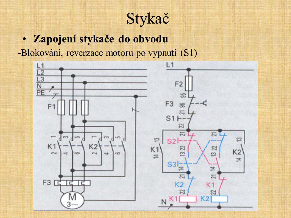 Stykač Zapojení stykače do obvodu