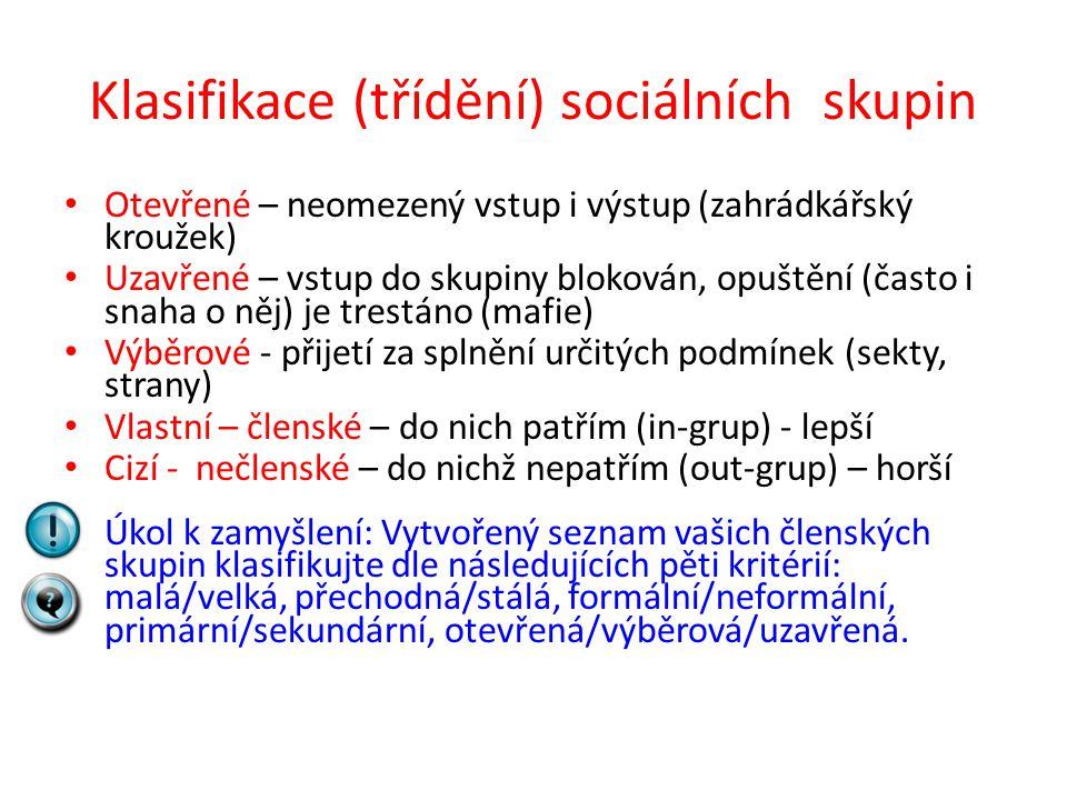 Klasifikace (třídění) sociálních skupin