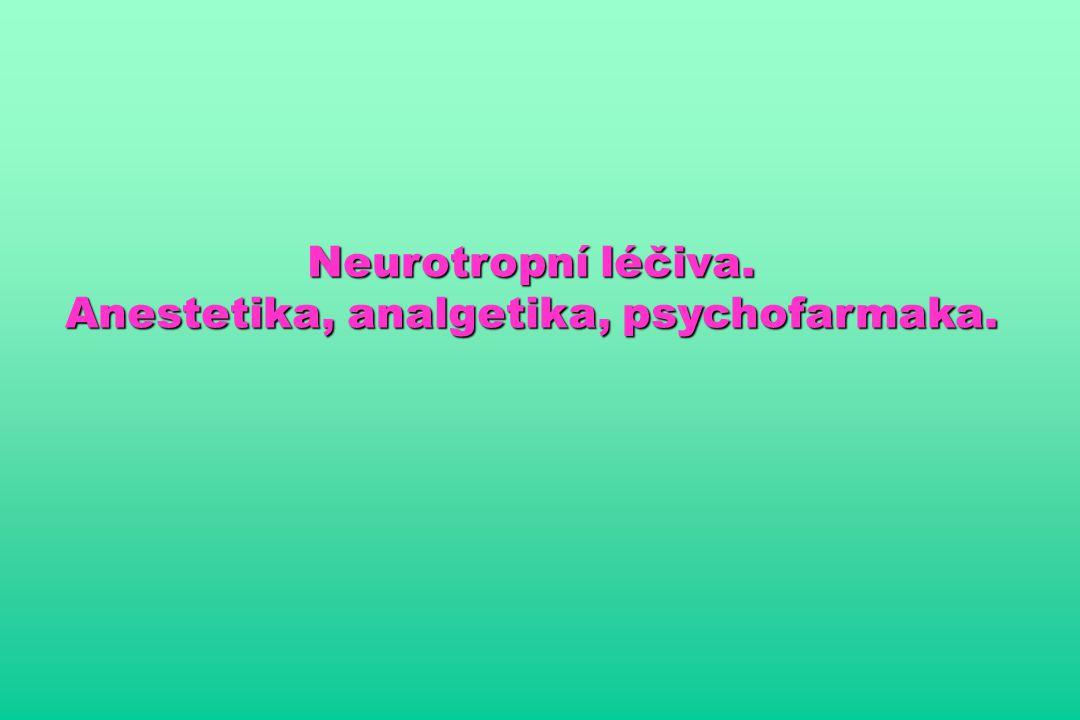 Anestetika, analgetika, psychofarmaka.