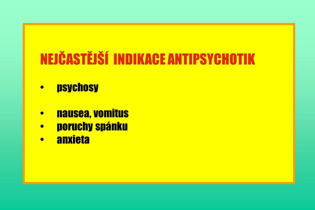 NEJČASTĚJŠÍ INDIKACE ANTIPSYCHOTIK
