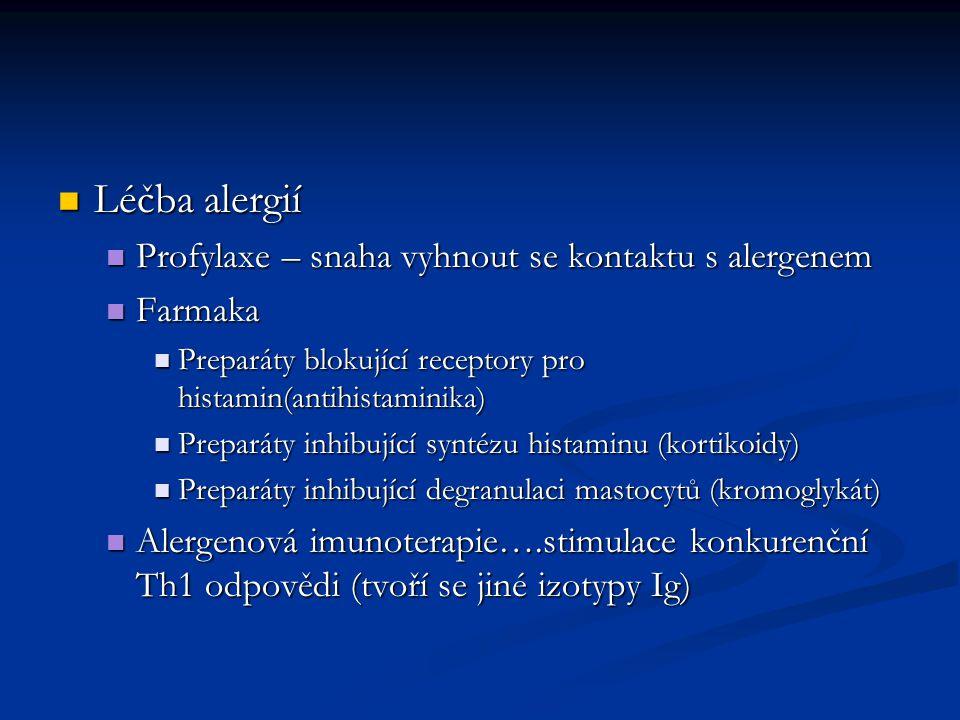 Léčba alergií Profylaxe – snaha vyhnout se kontaktu s alergenem